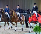 The top three in today's last leg of the Reem Acra FEI World Cup™ Dressage 2014/2015 Western European League at 's-Hertogenbosch (NED): Left to right - third-placed Hans Peter Minderhoud/Glock's Flirt from The Netherlands, runners-up Isabell Werth/Don Johnson FRH from Germany and winners Edward Gal/Glock's Undercover from The Netherlands. Photo by FEI/Arnd Bronkhorst