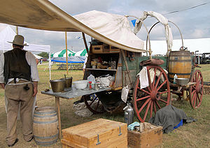 A mobile kitchen or chuckwagon.