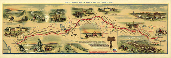 Illustrated Map of Pony Express Route in 1860.