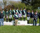 The winning British team (centre), flanked by second-placed Ireland (left) and third-placed France, at Ballindenisk (IRL), second leg of the FEI Nations Cup™ Eventing 2015. Photo by Tony Parkes/FEI