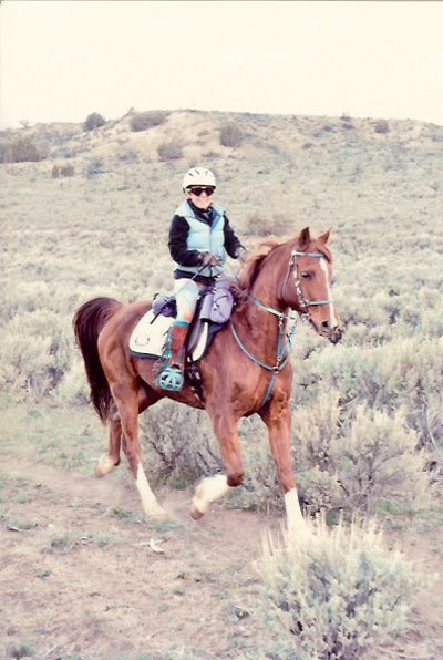 """This is endurance rider Sharma Gaponoff competing in the 50 mile """"Rides of March"""" – clever name!"""