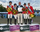 The team from the Czech Republic won the first leg of the Furusiyya FEI Nations Cup™ Jumping 2015 Europe Division 2 League at Linz, Austria today: (L to R) Ales Opatrny, Emma Augier de Moussac, Chef d'Equipe Martin Ohnheiser, Zuzana Zelinkova and Ondrej Zvara. Photo by FEI/Herve Bonnaud