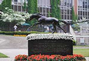 The Mighty Secretariat made history at Belmont and is feted each year with his own blanket of flowers.