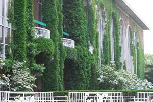 The ivy covered Belmont clubhouse.