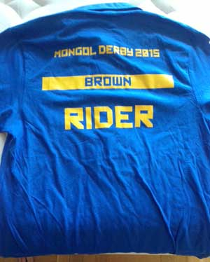 The shirt that arrived in the Mongol Derby treasure box.
