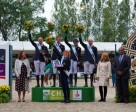Team Great Britain secured their third win in the Furusiyya FEI Nations Cup™ Jumping 2015 Europe Division 1 League at Rotterdam, The Netherlands today. Pictured (L to R) Show President Belle de Bruin, team members Joe Clee, Ben Maher, Chef d'Equipe Di Lampard (in front), Jessica Mendoza and Michael Whitaker, Judith Mennen Longines Brand Manager The Netherlands and Khaled Alselmi, Deputy Chef de Mission Saudi Arabia. Photo by FEI/Arnd Bronkhorst