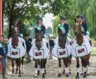 The winning British team at Strzegom (POL), fourth leg of FEI Nations Cup™ Eventing 2015 with (left to right) Team GBR FEI Nations Cup™ Eventing manager Philip Surl, Izzy Taylor (KBIS Stardust), Sarah Bullimore (Valentino V), Emily Llewellyn (Green Lawn Sky High) and Jodie Amos (Figaro van het Broekxhof). Photo by EventingPhoto/FEI
