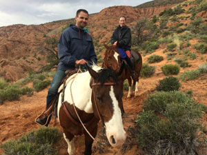 Fernando and I riding together in Utah.