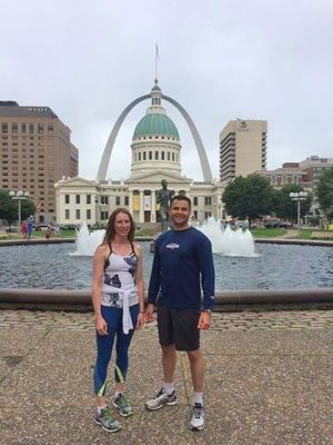 Running near the arch in St Louis