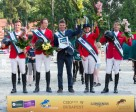 Team Denmark won the fifth leg of the Furusiyya FEI Nations Cup™ Jumping 2015 Europe Division 2 League at Budapest in Denmark today. Pictured (L to R) Thomas Sandgaard, Andreas Schou, Chef d'Equipe Lars Pedersen, Rikke Haastrup and Soren Pedersen. Photo by FEI/Tomas Holbecher