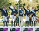 France won the sixth leg of the Furusiyya FEI Nations Cup™ Jumping Europe Division 2 League at Bratislava, Slovakia today. (L to R) Marc Le Berre, Geoffroy de Coligny, Philippe Guerdat (Chef d'Equipe), Francois Xavier Boudant and Bernard Briant Chevalier. Photo by FEI/Tomas Holcbecher