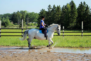 Luc and I practice going through puddles.