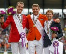 On the podium for today's FEI European individual Jumping Final in Aachen, Germany: (L to R) Gregory Wathelet (BEL) silver, Jeroen Dubbeldam (NED) gold and Simon Delestre (FRA) bronze. Photo by FEI/Dirk Caremans
