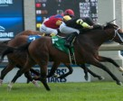 Emma-Jayne Wilson guides Interpol to victory in the $200,000 Sky Classic Stakes at Woodbine. Photo by Michael Burns Photography