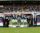 The host nation of Ireland won the eighth and last leg of the Furusiyya FEI Nations Cup™ Jumping 2015 Europe Division 1 League in Dublin today. Pictured (L to R) Matthew Dempsey, President of the Royal Dublin Society, President of Ireland His Excellency Michael D. Higgins, team members Greg Broderick, Darragh Kenny, Chef d'Equipe Robert Splaine, Bertram Allen and Cian O'Connor, Mr Yazeed Suleiman D Alderaiwesh, Saudi Embassy Dublin, Katrina Jones Longines Brand Manager UK and Ireland, and Brian Mangan, FEI Bureau member. Photo by FEI/Tony Parkes