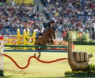 Kevin Staut and Reveur de Hurtebise HDC produced the third clear round that promoted France to the top of the leaderboard in today's first round of the team final competition at the FEI European Jumping Championships 2015 in Aachen, Germany. Photo by FEI/Dirk Caremans