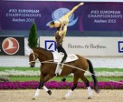 The reigning world and defending European champions, Jasmin Lindner and Lukas Wacha from Austria, clinched the Pas de Deux title once again the FEI European Vaulting Championships 2015 in Aachen, Germany. Photo by FEI/Dirk Caremans