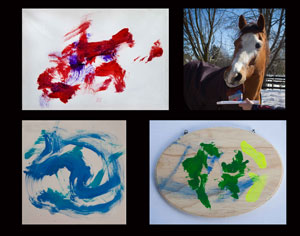 "Ellen Cameron took the photo of Kye with his paintbrush at the ready. She also designed the layout of the three paintings Kye did. We'll have this made into a banner and placed beside the ""Art By Equines"" banner."