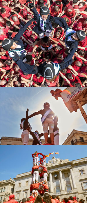 """Barcelona's most celebrated """"human tower"""" builders, the Els Castellers de Barcelona, have pulled out all the stops to welcome the world's best Jumping athletes to the Furusiyya FEI Nations Cup™ Final 2015, which starts in their legendary city this Thursday, September 24th. Photo by Liz Gregg/FEI"""