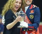 New York fashion designer Reem Acra hugs champion Charlotte Dujardin after the British rider and her wonderhorse Valegro successfully defended their title at the Reem Acra FEI World Cup™ Dressage Final 2014/2015 in Las Vegas (USA) last April. Photo by FEI/Arnd Bronkhorst
