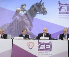 Olympic formats were the focus of today's session at the FEI General Assembly in San Juan (PUR), with FEI President Ingmar De Vos (left) leading discussions with National Federations on proposed changes to Olympic competition formats. The three Olympic discipline Chairs, Frank Kemperman (Dressage), John Madden (Jumping) and Giuseppe Della Chiesa (Eventing) detailed the proposals to delegates. Photo by FEI/Richard Juilliart