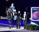 Germany's Christian Ahlmann and Codex One were presented with a Longines watch by Rainer Eckert, Longines Brand Manager Germany, after winning the fifth leg of the Longines FEI World Cup™ 2015/2016 Western European League at Stuttgart, Germany. Photo by FEI/Karl-Heinz Frieler