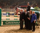 Jill Henselwood and Farfelu du Printemps are presented as the winners of the opening round of competition in the $100,000 Greenhawk Canadian Show Jumping Championship on Friday, November 6, at the Royal Horse Show in Toronto, ON. (Ben Radvanyi Photography)