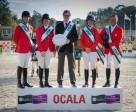 Winning Team USA on the podium - left to right: Mclain Ward, Beezie Madden, Robert Ridland (Chef d'Equipe), Lauren Hough and Todd Minikus (Photo: FEI/StockImageServices.com)