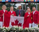 The Canadian Show Jumping Team, from left to right: Tiffany Foster, Elizabeth Gingras, chef d'equipe Mark Laskin, Kara Chad and Eric Lamaze. Photo by Starting Gate Communications