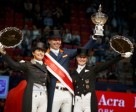 On the podium at the Reem Acra FEI World Cup™ Dressage 2016 Final in Gothenburg, Sweden today (L to R) Sweden's Tinne Vilhelmson-Silfven (2nd), The Netherlands' Hans Peter Minderhoud (1st) and Germany's Jessica von Bredow-Werndl (3rd). Photo by FEI/Dirk Caremans