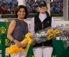 Martha Jolicoeur (left) presents Canada's Tiffany Foster as the Overall Leading Lady Rider of the 2016 Winter Equestrian Festival. Photo by Starting Gate Communications