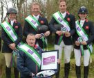 The winning British team, (from left to right) Izzy Taylor, Oliver Townend, Wills Oakden and Franky Reid-Warillow, with Chef d'Equipe Philip Surl (front), at Ballendenisk (IRE), second leg of the FEI Nations Cup™ Eventing 2016. Photo by Tony Parkes/FEI
