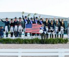 On the podium at the first leg of the FEI Nations Cup™ Dressage 2016 series in Wellington, Florida (USA) yesterday (left to right): Team Canada (2nd), Team USA (1st) and Team Spain (3rd). Photo by FEI/Susan J. Stickle