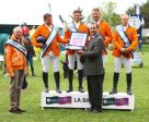 The Netherlands won the Furusiyya FEI Nations Cup™ Jumping 2016 Europe Division 1 leg at La Baule (FRA) today. Pictured (L to R) Chef d'Equipe Rob Ehrens, Wout-Jan van der Schans, Leopold van Asten, Jur Vrieling and Willem Greve with HH Prince Turkey Bin Khaled Al Saoud, Defence Attaché for the Saudi Arabian Embassy in Paris and Bern. Photo by FEI/Jean-Philippe Martini