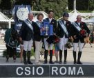 Team Great Britain made it a back-to-back double when winning the Furusiyya FEI Nations Cup™ Jumping Europe Division 1 leg at Piazza di Siena in Rome (ITA) for the second year in succession today. On the podium (L to R) Michael Whitaker, Di Lampard Chef d'Equipe, Ben Maher, Jessica Mendoza and John Whitaker. Photo by FEI/Stefano Secci