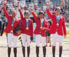 The Pan Am gold medal-winning jumping team (l-r)  Yann Candele, Tiffany Foster, Eric Lamaze, and Ian Millar. (FEI/StockImageServices photo)
