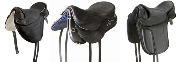 A variety of treeless saddles randomly chosen from the internet – brands unknown.