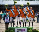 The host nation won the fifth leg of the Furusiyya FEI Nations Cup™ Jumping 2016 Europe Division 1 League at Rotterdam (NED) today. Pictured (L to R): Chef d'Equipe Rob Ehrens with team members Jur Vrieling, Harrie Smolders, Maikel van der Vleuten and Willem Greve. Photo by FEI/Arnd Bronkhorst