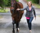 Jessica Phoenix and Pavarotti jogging in the CIC3* inspection. Photo by Cealy Tetley