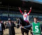 Jockey Julien Leparoux celebrates his Queen's Plate victory aboard Sir Dudley Digges. Photo by Michael Burns Photography