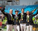 Roger Yves Bost, Penelope Leprevost, Kevin Staut and Philippe Rozier secured Olympic Jumping team gold for France for only the second time in the history of the Games at Deodoro Olympic Park in Rio de Janeiro (BRA). Photo by Dirk Caremans/FE