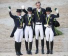 Team Germany took its 13th Olympic Dressage team gold today at Deodoro Olympic Park. L to R - Isabell Werth, Dorothee Schneider, Sönke Rothenberger and Kristina Bröring-Sprehe. (Richard Juillart/FEI)