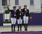 Gender equality: Germany's Michael Jung took individual gold in Olympic Eventing at London 2012, with Sara Algottsson Ostholt (SWE) in silver and Sandra Auffarth (GER) in bronze. Photo by FEI/Dirk Caremans