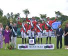 Team Germany won the eighth and last leg of the Furusiyya FEI Nations Cup™ Jumping 2016 Europe Division 1 League at Hickstead (GBR) today. (L to R) Daisy Bunn, Director of Hickstead Clare Salmon, Chief Executive British Equestrian Federation, German Chef d'Equipe Otto Becker, team members Janne Friederike Meyer, Ludger Beerbaum, Meredith Michaels-Beerbaum and Patrick Stuhlmeyer, Fawaz Al Shubaili, First Secretary Saudi Arabian Embassy and Roxanne Tierney, PR Manager Longines UK/Ireland. Photo by FEI/Sebastian Oakley