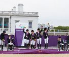 London 2012 Team podium, Great Britain in gold, Germany in silver and Ireland in bronze. Photo by FEI/Liz Gregg
