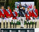 Team Germany, Furusiyya FEI Nations Cup™ 2016 champions, on the podium in Barcelona (ESP) tonight: (L to R) Ludger Beerbaum, Christian Ahlmann, Janne Friederike Meyer, Otto Becker (Chef d'Equipe), Marcus Ehning and Daniel Deusser. Photo by Dirk Caremans/FEI