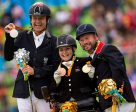 Rio 2016 Paralympics grade 1b freestyle podium L-R Pepo Puch (AUT) silver, Stinne Tange Kaastrup (DEN) bronze, Lee Pearson (GBR) gold. Photo by Jon Stroud/FEI