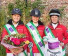 The victorious German team at Waregem (BEL), the eighth and penultimate leg of the 2016 FEI Nations Cup™ Eventing. L-R Leonie Kuhlmann (Cascora), Stephanie Böhe (Haytom), Franziska Keinki (Lancaster 149). Photo by Eventing Photo/FEI