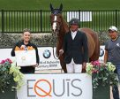 Harold Chopping, Salvador Navor, and Basje are presented with the Equis Boutique Best Presented Horse Award by Alex West of Equis Boutique after competing in CSI 3* competition at TIEC. Photo by Sportfot