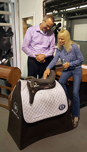 Anne and Jochen discussing the design of her new saddle.